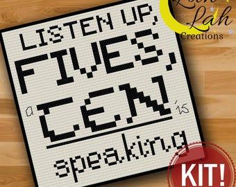 Listen Up Fives a Ten is Speaking quote - 30 Rock Counted Cross Stitch Kit