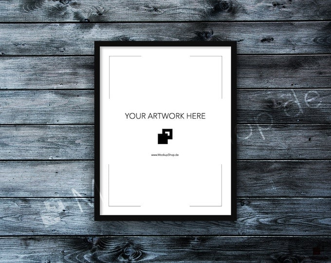11x14 FRAME MOCKUP BLACK / Styled Photography Poster Mockup, old white wooden wall Background, Framed Art, Instant Download / Frame Mockup