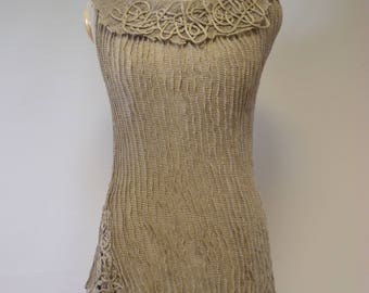 Artsy natural transparent top, S/M size. Made of pure linen.