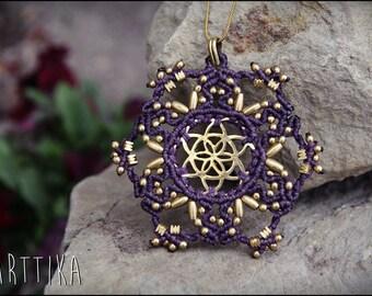 Seed of life pendant. SACRED GEOMETRY. Macrame necklace. MANDALA macrame. Tribal jewelry. Boho. Ethnic. Gypsy. Flor de la Vida. Yoga pendant