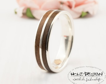925 silver engagement ring mens wood wedding bands bentwood ring matching rings couple ring wooden custom - Mens Wood Wedding Rings