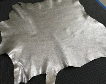 Silver Metallic finish Goat Skin Leather from Italy
