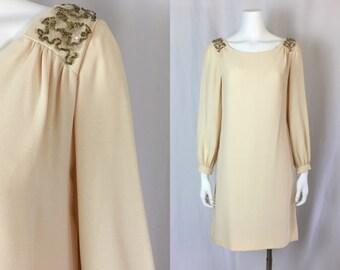Small/medium ** 1960s CREAM rayon crepe long sleeve dress ** vintage sixties Jr. Theme sequin bead dress