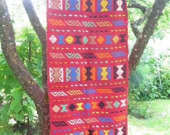 Vintage Woven Wool Decor Red with Colorful Geometric Ornaments Hippie Boho Blanket Throw Woven Spread Chair Sofa Cover #3-02