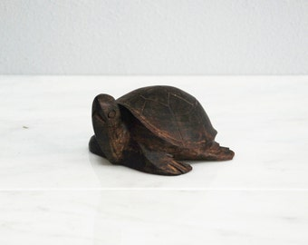 Hand-Carved Wooden Turtle Sculpture / Figurine / Wood Carving / Tortoise / Terrapin