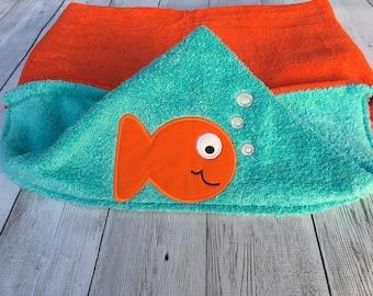 Hooded Baby Towel, Hooded Toddler Towel, Hooded Fish Towel, Goldfish Towel, Baby Shower Gift