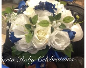 Royal blue bridal bouquet and boutonnière set
