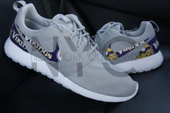 ee3ba236b5e67 60%OFF Minnesota Vikings Nike Roshe One Run Grey Custom Men by NYCustoms