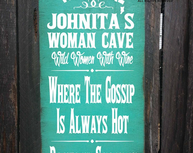 personalized woman cave sign, personalized sign, woman cave decoration, woman cave gift, housewarming gift, personalized woman cave decor