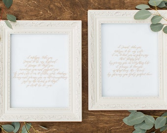 Custom 8x10 Wedding Vow calligraphy