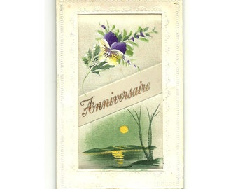 French Silk Hand Painted Postcard, Happy Birthday, Embroidery Pink Blue Flower, lllustrated  Post Card