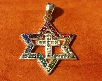 Sterling silver 925 Swarovski Messianic Star of David & Cross pendant necklace