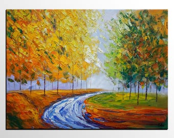 Abstract Art, Abstract Painting, Landscape Painting, Autumn Tree Painting, Original Art, Canvas Art, Canvas Painting, Wall Art, Oil Painting
