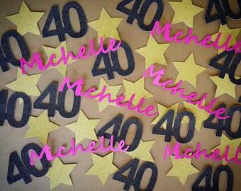 Confetti, Birthday Confetti, Custom Confetti, Personalized Confetti, 40th Birthday, Star Confetti, Name Confetti, Customized Name Confetti