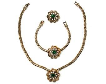 Vintage rhinestone parure rhinestone jewelry set gold jewelry set necklace bracelet and brooch flower jewelry set