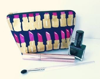 Gold Metallic Lipsticks Small Make Up Purse