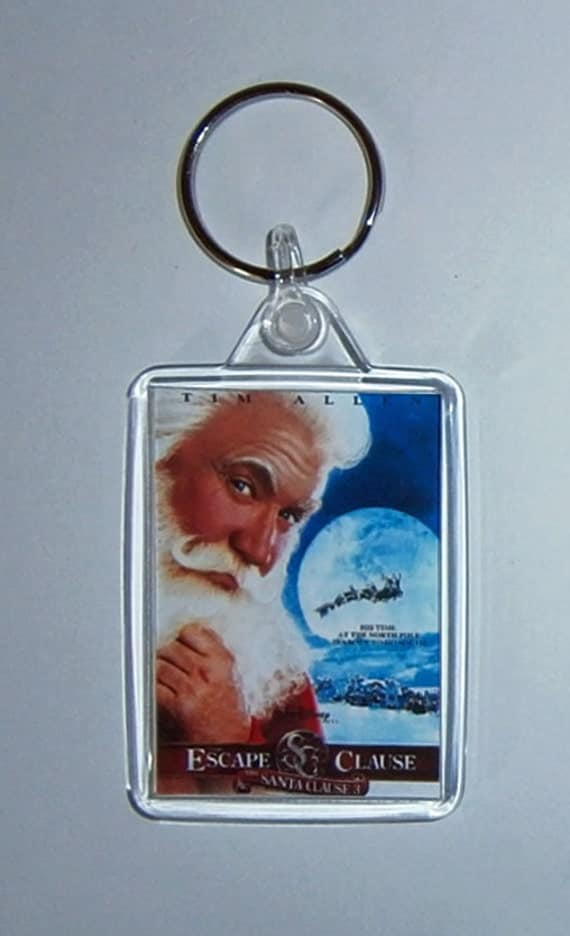 Christmas Movies The Santa Clause 3 The Escape Clause Keyrings Keychains available in Blue Red Green White or Clear connectors