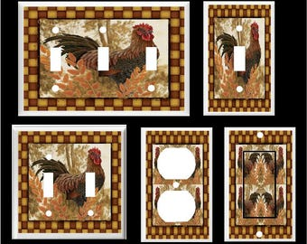COUNTRY ROOSTER PRIMITIVE Light Switch Cover Plate # 2  Free Shipping to U.S.!!! You pick plate size