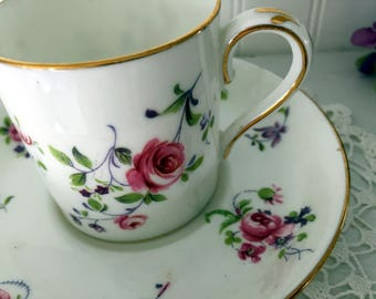 DEMITASSE Crown Staffordshre Teacup and Saucer, English Demi / Espresso Bone China Tea Cup