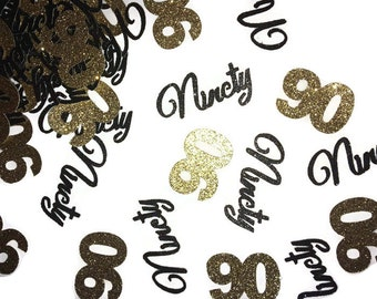 90 confetti, 90th birthday party decorations, ready in 1 week, ninetieth, 50CT, black and gold party supplies, ninety years, anniversary