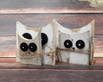Rustic Wood Owl Set