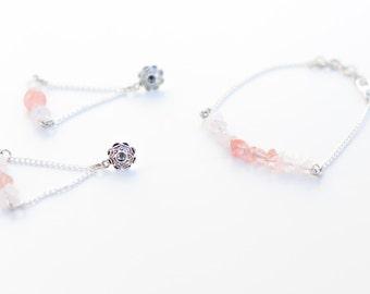beautiful jewelry set // rose quartz and cherry quartz //