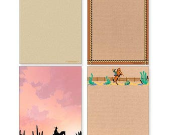 Western Notepad Pack - 4 Assorted Western Theme Pads - 608