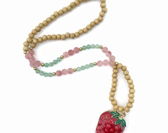 The Strawberry - Wood, Strawberry Quartz, and Jade Beads