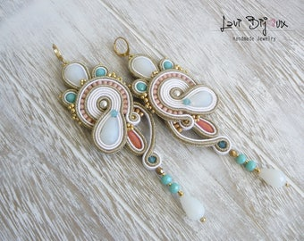 Soutache Earrings, Handmade Earrings, Hand Embroidered, Soutache Jewelry, Handmade from Italy, OOAK
