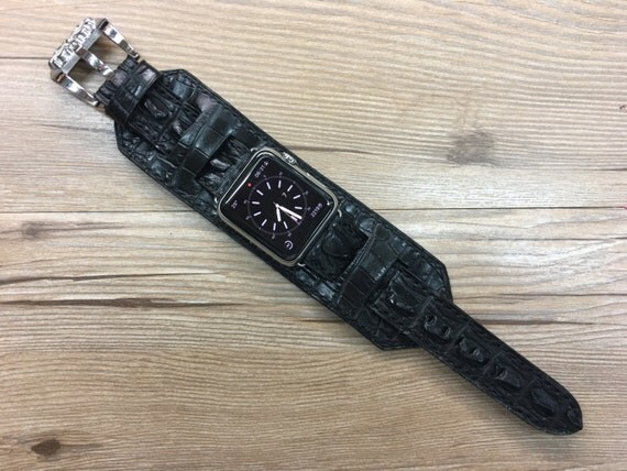Apple Watch Band | Apple Watch Strap | Matt black Leather Cuff Watch Band | Real Alligator Skin Cuff Watch Strap For Apple Watch 42mm