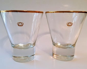 Crown Royal Canadian Whiskey Crystal Rocks Glasses 2 Lowball Glasses Gold Crown And Rim Raised Crown And CR Weighted Bottom Made In Italy