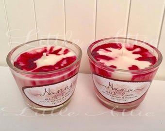 Cherry And Vanilla Scented Soy Candles. Marble Effect Scented Candle. Personalised Candle.Gift For Her. Birthday Candles. New Home.