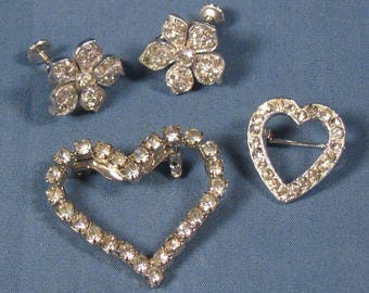 Vintage Rhinestone Pins and Earrings Lot