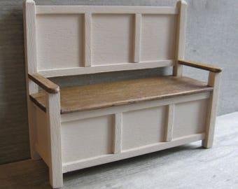 1/12th Scale Bench - Cream / Oak
