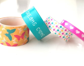 Set of 4 patterned washi tapes | butterflies | dots | believe in yourself | hearts