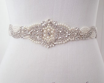 Bridal Belt, Crystal Pearl Dress Belt, Wedding Sash, Bridal Bridesmaid Flower Girl Dress Sash Belt, Pearl Sash Belt- Style 783