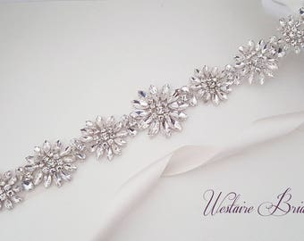 Wedding Belt, Beaded Bridal Sash, Crystal Wedding Belt, Bridal Sash - Style 784