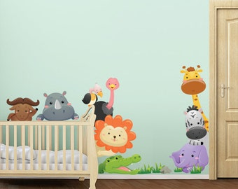 "R00023 Wall sticker for kids printed on wallpaper ""Cheerful safaris"""