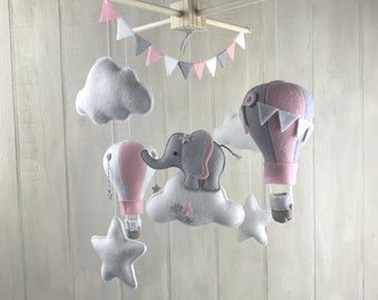 Baby mobile - elephant mobile - hot air balloon mobile - cloud mobile - star mobile - elephany nursery - baby mobiles