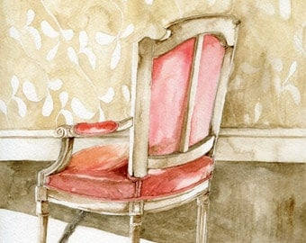 chair painting, coral, watercolor art print, home decor art, wall art, bedroom art, cottage art, interior design art, furniture illustration