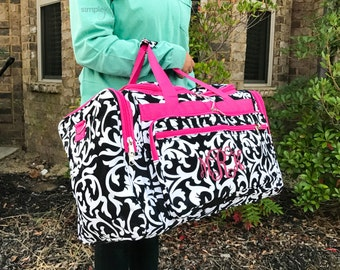 Monogrammed Damask DUFFLE Bag, Pink Damask Duffle, Carry On Bag, Weekender Bag, Damask Luggage, Sports Bag, Monogrammed Gifts, Airline Carry