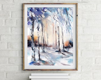 Winter forest - art print, watercolor painting art print, nature painting, wall art, snowy forest