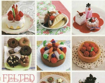"""Japanese Craft e-book """"FELTED SWEET TREATS""""-Instant Download pdf.E-Book#21,Decorated Cake Collection,Baked Sweet,Cristmas Treats,Pancakes"""