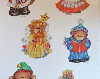 Vintage Stickers - Lucy Rigg Christmas Teddy Bear Stickers - 6 Lucy & Me
