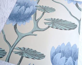 Wallpaper - Cole and Son  Sample Sheet  - 19 x 17 Summer Lily in Blue Green