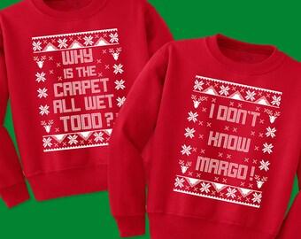 SET OF 2 Matching Christmas Sweatshirts - Todd & Margo Couples Shirts - National Lampoon's Christmas Vacation Ugly Sweater Sweatshirts