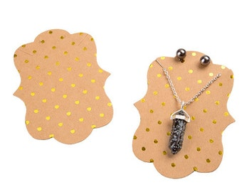 Kraft and Gold Foil Polka Dot Necklace and Earring Cards, 2.9 x 3.9 Inches with Brackets, 24 PC