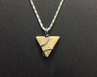 Wire Wrapped Triangular Stone Necklace