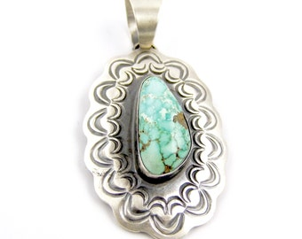 Sterling Silver Chimney Butte Turquoise Navajo Pendant