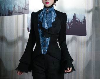 Vintage Halter Top Womens Vest Floral Black Vest Jabot Cravat Set